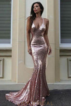 Sequin Spaghetti Straps Sleeveless Long Solid Stretch Mermaid Evening Dress