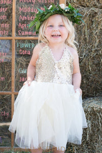 Elegant Sequin Spaghetti Straps Sleeveless Tea-Length Tulle Flower Girl Dress