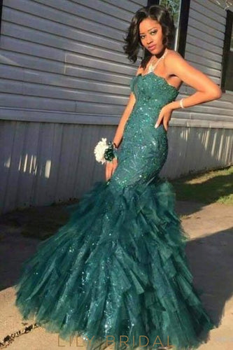 Elegant Sequin Strapless Sleeveless Floor-Length Stretch Mermaid Evening Dress