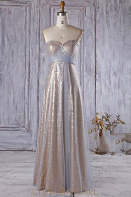 Sequin Sweetheart Strapless Floor-Length Bridesmaid Dress With Tulle