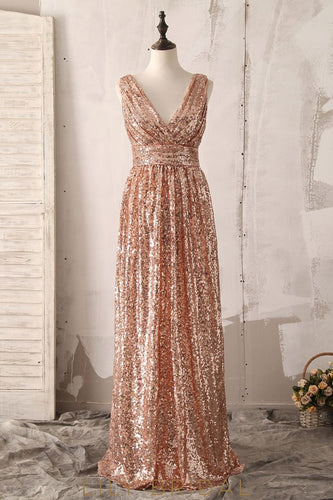 Sequin V-Neck Sleeveless Zipper-Up Floor-Length Solid Ruched Sheath Bridesmaid Dress