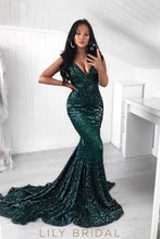 Sequin V-Neck Sleeveless Long Solid Mermaid Evening Dress with Court Train