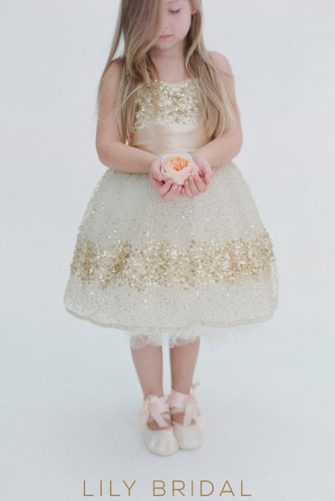 Sequinned Strapless Knee-Length Ball Gown Flower Girl Dress with Sash