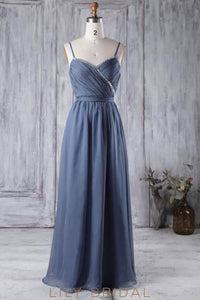 Sequinned Chiffon Spaghetti Strap Floor-Length Bridesmaid Dress With Sash