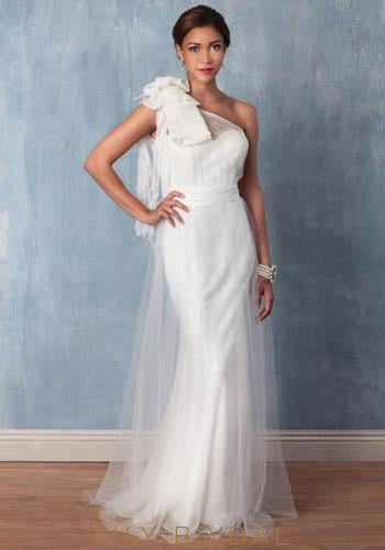 Sequinned One-Shoulder Wedding Dress With Corsage