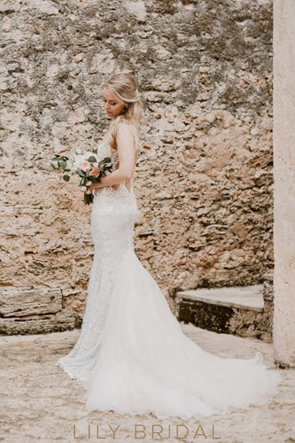 Sequinned Strap Open Back Lace Illusion Mermaid Wedding Dress With Tulle Train