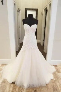 Sequinned Strapless Sweetheart Tulle Wedding Dress With Embroidered Bodice