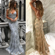Deep V-Neck Lace-Up Back Sweep Train Prom Dress With Sequin Applique