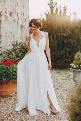 Applique Spaghetti Straps Sleeveless Backless Long Solid Pleated Slit Chiffon Wedding Dress Dresses