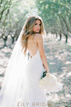 Sexy Backless Spaghetti Strap Lace Mermaid Bridal Dress With Sweep Train