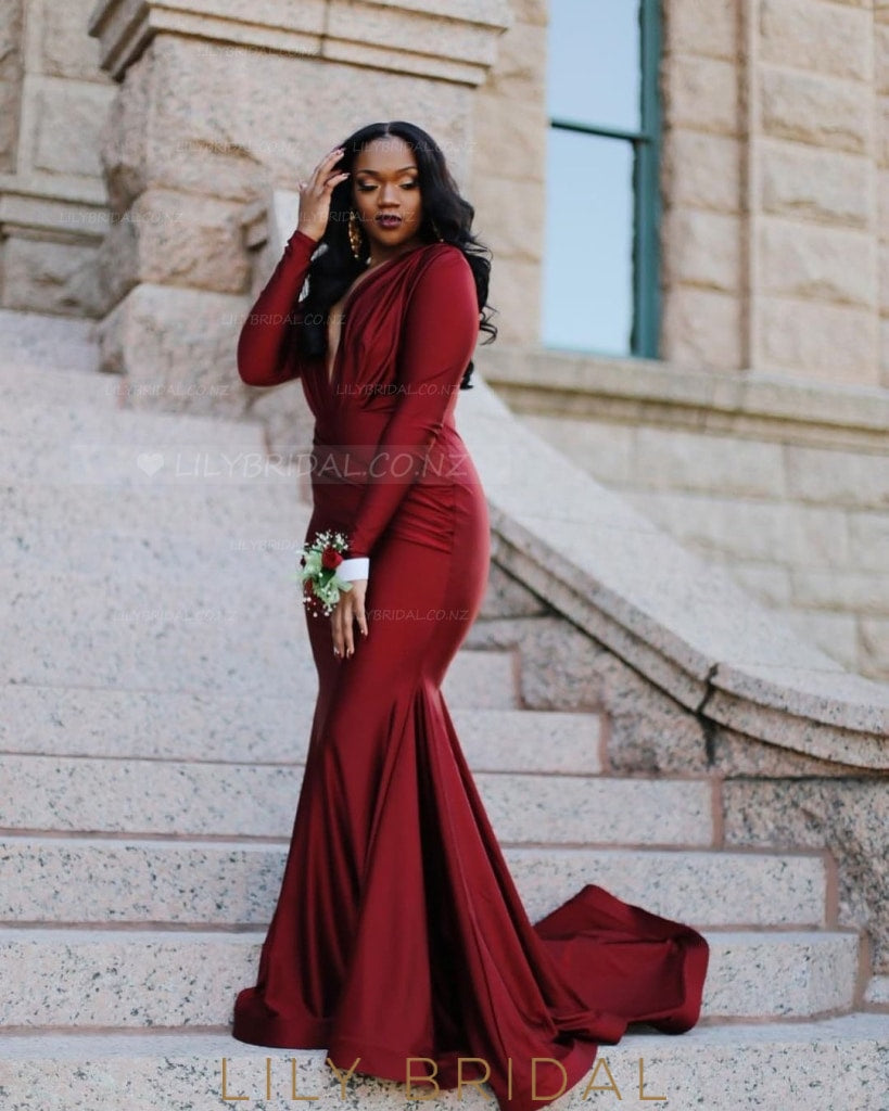 660c6e7a869a Deep V-Neck Long Sleeves Long Solid Ruched Mermaid Evening Dress with Sweep  Train