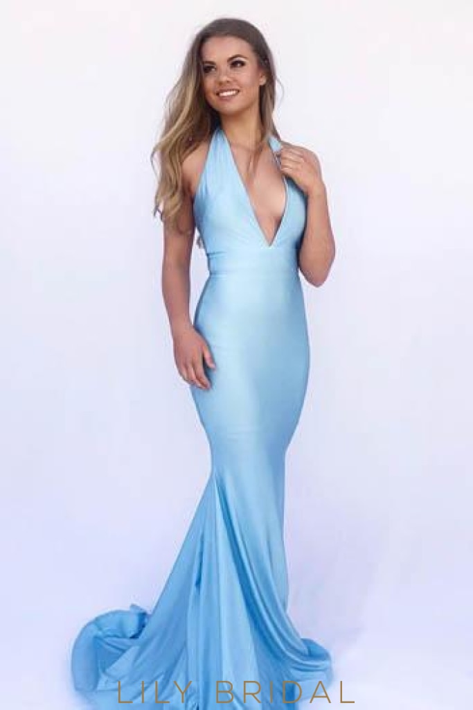 Deep V-Neck Sleeveless Long Solid Stretch Mermaid Evening Dress with Sweep Train