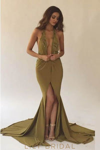 Lace Plunge Neck Sleeveless Long Solid Slit Mermaid Evening Dress with Court Train
