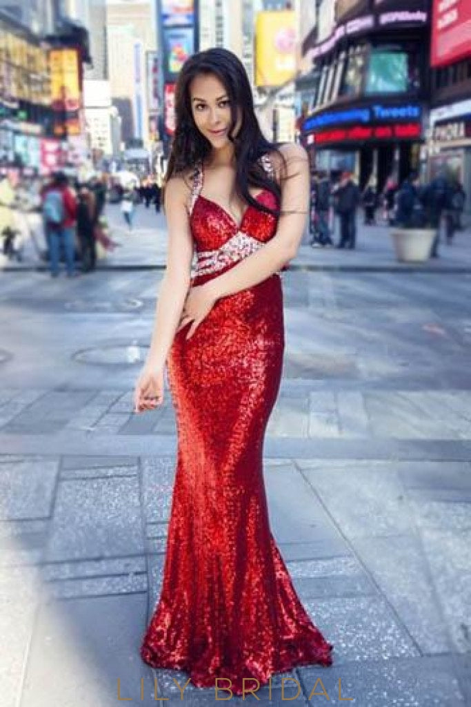 Sexy Sheath Floor-Length Strap Cut Out Sequin Prom Dress