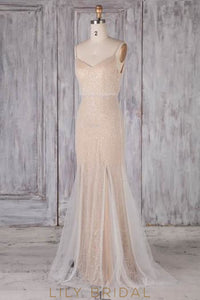 Spaghetti Straps Sleeveless Backless Long Sheath Bridesmaid Dress with Sweep Train