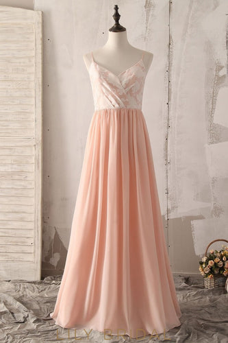 Spaghetti Straps Sleeveless Backless Floor-Length Pleated Sheath Chiffon Bridesmaid Dress