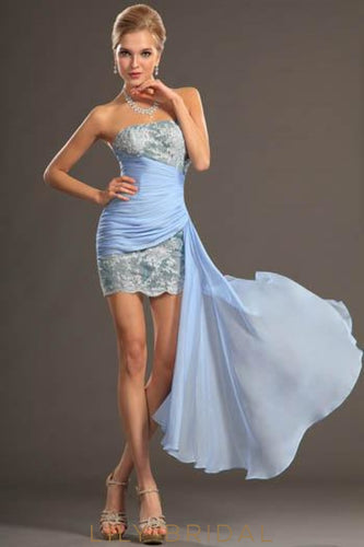 Sexy Strapless Illusion Chiffon Mini Prom Dress With Delicate Applique