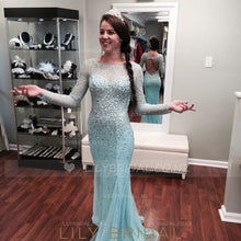 Sheath Bateau Long Sleeve Illusion Prom Dress With Beads