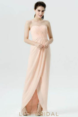 Sheath Chiffon Sweetheart Strapless High-Low Bridesmaid Dress With Ruching