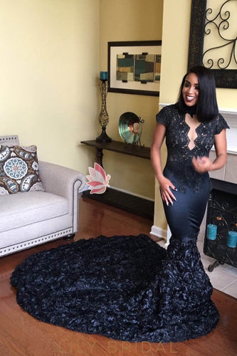 Mermaid Black Lace Satin Prom Dress with Floral Court Train
