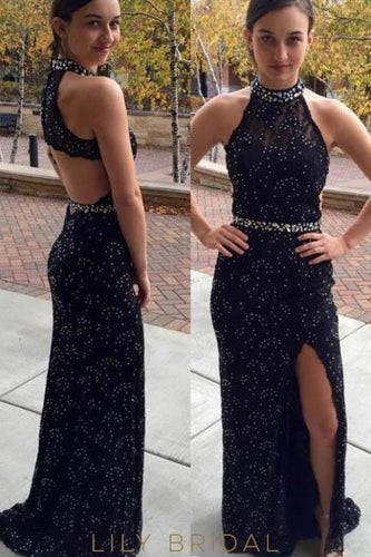 Sheath High Neck Cut Out Back Split Lace Prom Dress With Beads