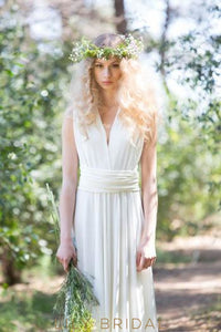 Boho Sheath Ivory Satin Sweep Train Bridal Dress With V-Neck