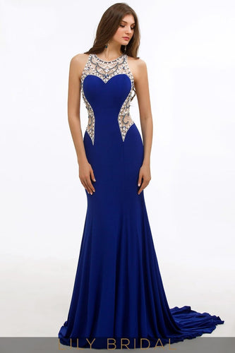 Mermaid Jersey Beaded Jewel Neck Sleeveless Illusion Sweep Train Prom Dress
