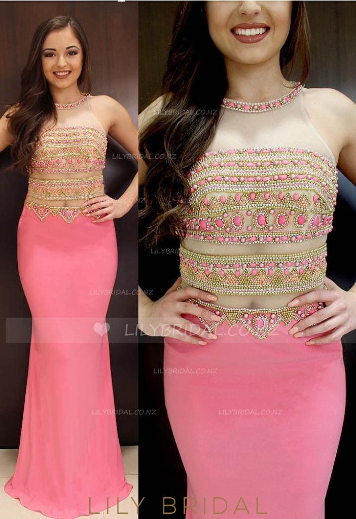 Sheath Jewel Neck Illusion Long Prom Dress With Beads