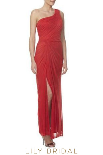 Sheath One-Shoulder Ruched Ankle-Length Bridesmaid Dress With Slit