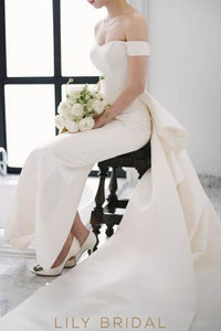 Sheath Satin Off-The-Shoulder Wedding Dress With Ruffles