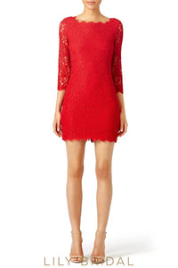 Sheath Silhouette Red Lace 3/4 Sleeves Bridesmaid Dress