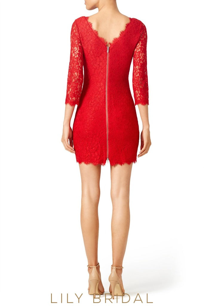 Sheath Silhouette Red Lace Bridesmaid Dress