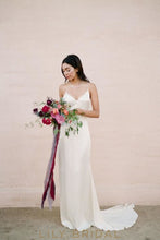 Sheath Satin V-Neckline Open Back Crossed Straps Wedding Dress