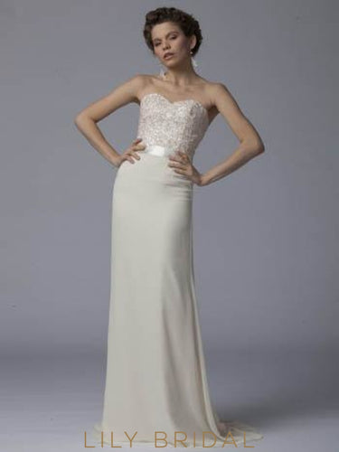Sheathe Strapless Sweetheart Champagne Chiffon Bridesmaid Dress With Sequinned Bodice