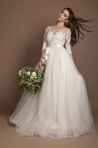 Sheer Elbow Sleeves Illusion Neckline Lace and Tulle Wedding Ball Gown