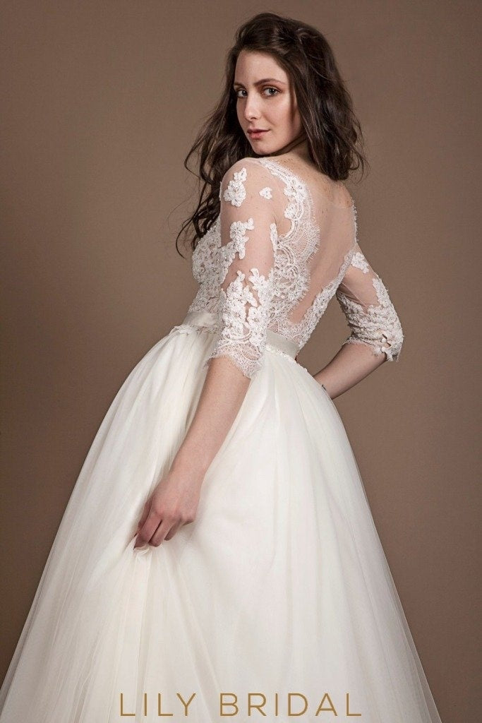 Sheer Elbow Sleeves Illusion Neckline Lace and Tulle Wedding Ball ...