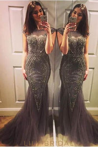 Sheer Neck Cap Sleeve Beaded Tulle Mermaid Prom Dress