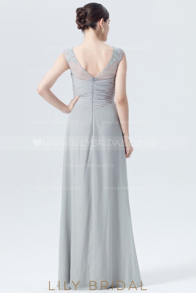 Sheer Neck Empire Waist Long Bridesmaid Dress With Lace Applique
