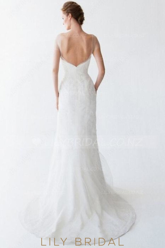 Sheer Neck Short Sleeves Backless Long Solid Sheath Wedding Dress With Sweep Train