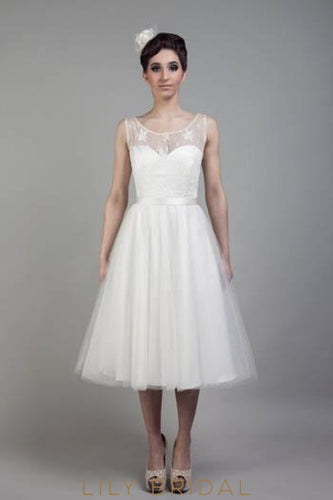 Sheer Neck Sweetheart Tea-Length Tulle Bridal Dress With Lace