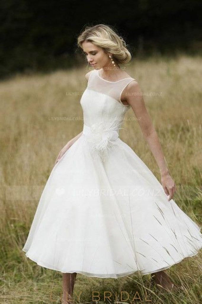 Sheer Neck Tea-Length Corsage Wedding Dress With Ribbon