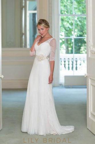 Sheer 1/2 Sleeve Sweep Train Chiffon Bridal Dress With Belt