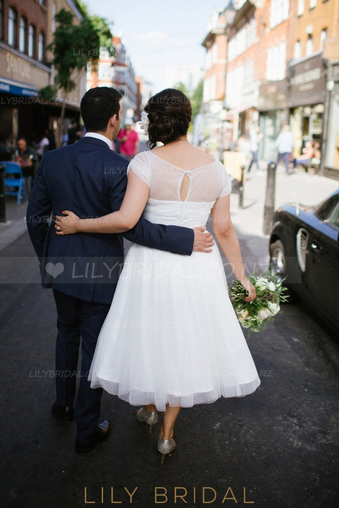 Short Sleeve Bateau Tea-Length Illusion Tulle Plus Size Wedding Dress With Beaded Belt
