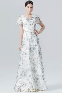 Short Sleeve Floor-Length White Floral Print Evening Dress With V-Neck