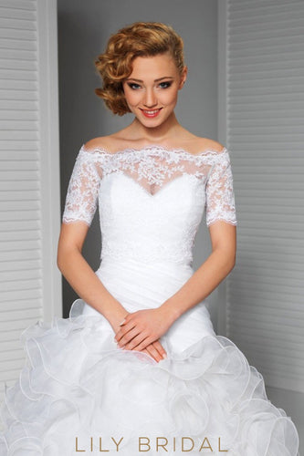 Short Sleeve Off-The-Shoulder White Lace Bridal Jacket