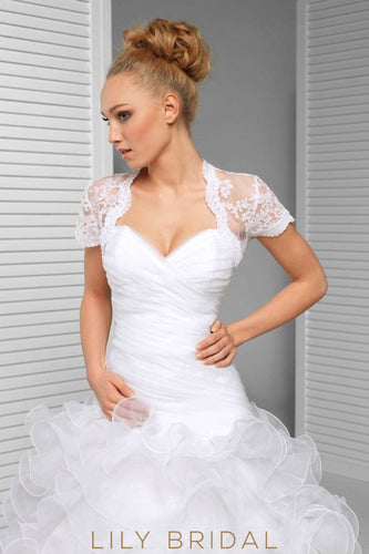 Short Sleeve Scalloped Top Lace Bridal Jacket