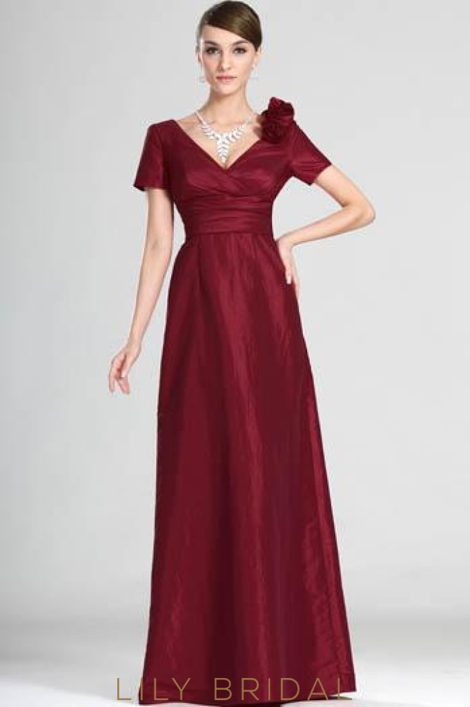 Short Sleeve V-Neck Floor-Length Burgundy Corsage Evening Dress