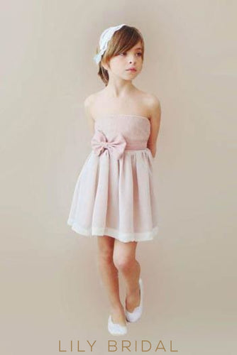 Short Strapless Straight Across Neckline Pleated Chiffon Flower Girl Dress With Bowknot