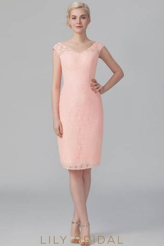 Short V-Neck Floral Lace Bodycon Formal Bridesmaid Dress