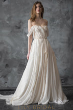 Boho Side Slit Chiffon A-line Off-The-Shoulder Wedding Dress